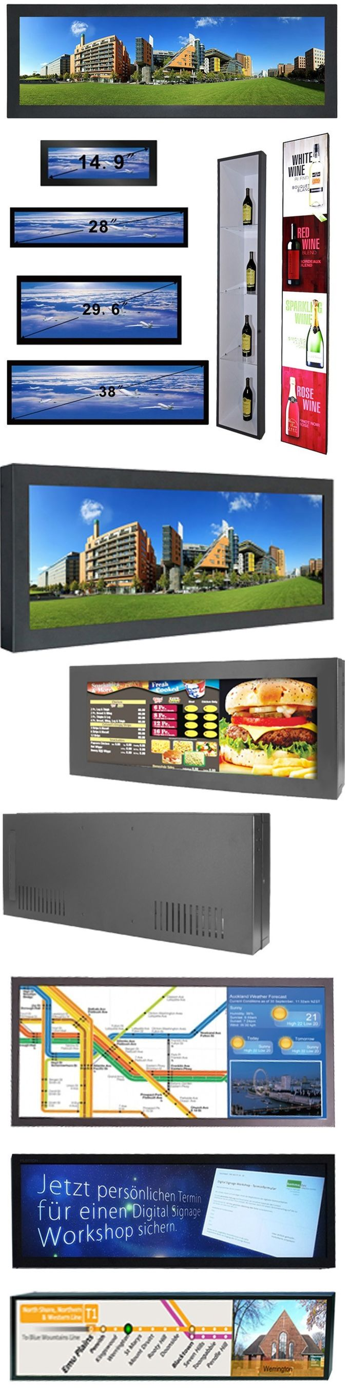 38 inch wall mounting FHD stretch bar lcd display with ultra wide lcd panel