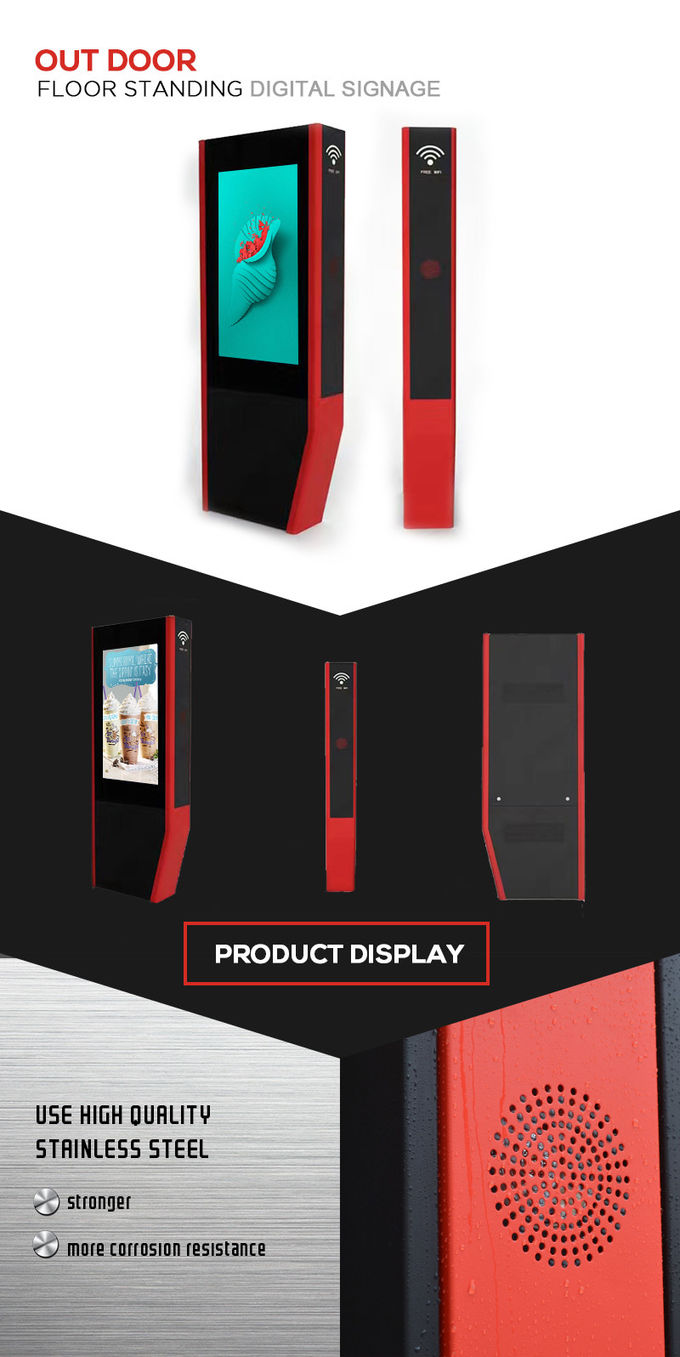 Floor Stand LED Digital Signage Outdoor Displays Touch Screen 42 Inch