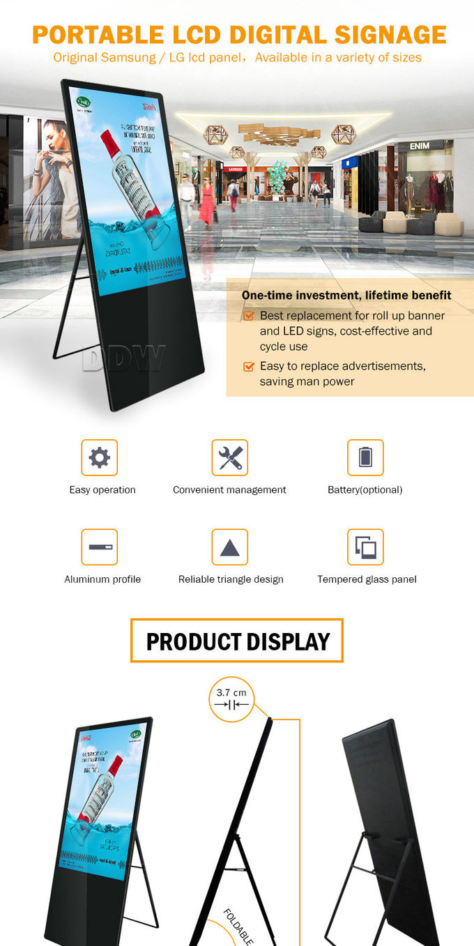 "55"" High Resolution LCD Digital Signage Display Max Power Consumption 3600W DDW-AD5501SNT"