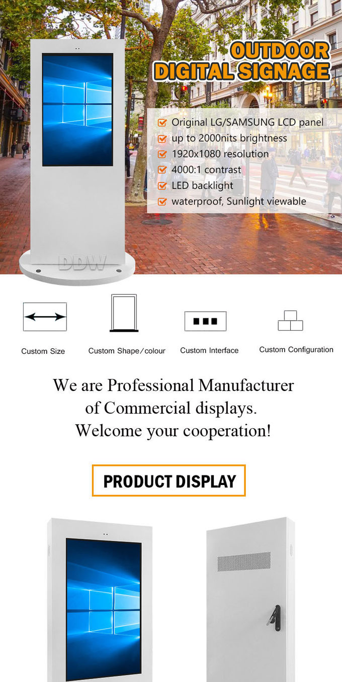 Lcd Advertising Kiosk Outdoor Digital Signage AC100 ~ 240V customized Frame DDW-AD4201SNO